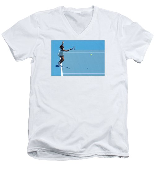 Return - Serena Williams Men's V-Neck T-Shirt by Andrei SKY