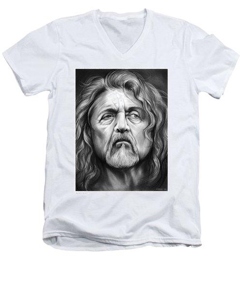 Robert Plant Men's V-Neck T-Shirt by Greg Joens