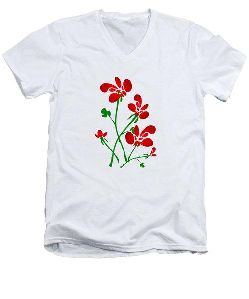Rooster Flowers Men's V-Neck T-Shirt by Anastasiya Malakhova