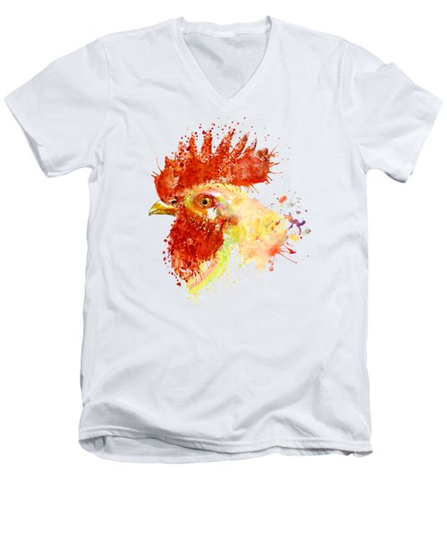Rooster Head Men's V-Neck T-Shirt by Marian Voicu