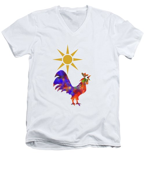 Rooster Pattern Men's V-Neck T-Shirt by Christina Rollo
