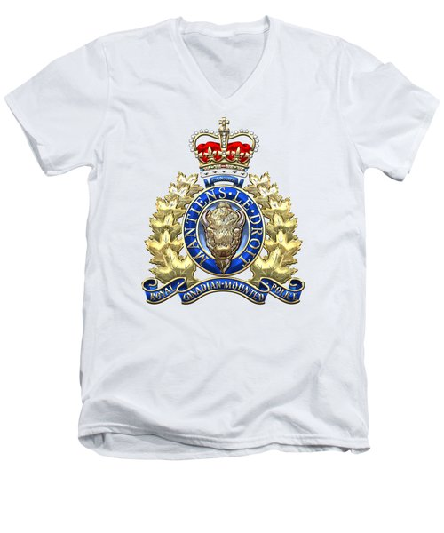 Royal Canadian Mounted Police - Rcmp Badge On White Leather Men's V-Neck T-Shirt by Serge Averbukh