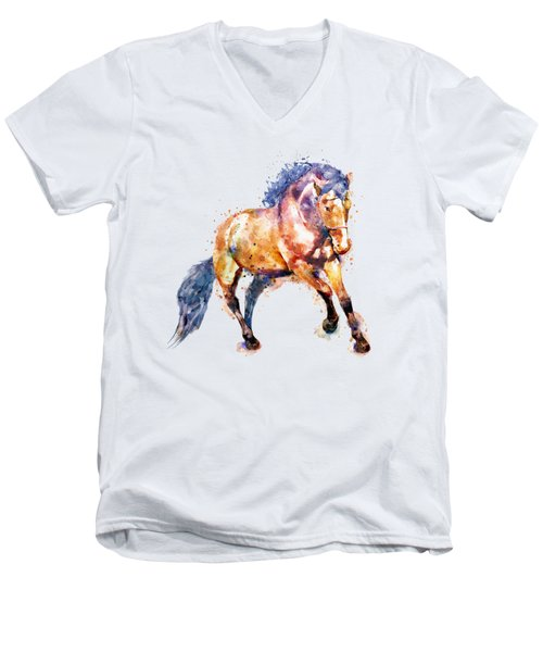 Running Horse Men's V-Neck T-Shirt by Marian Voicu