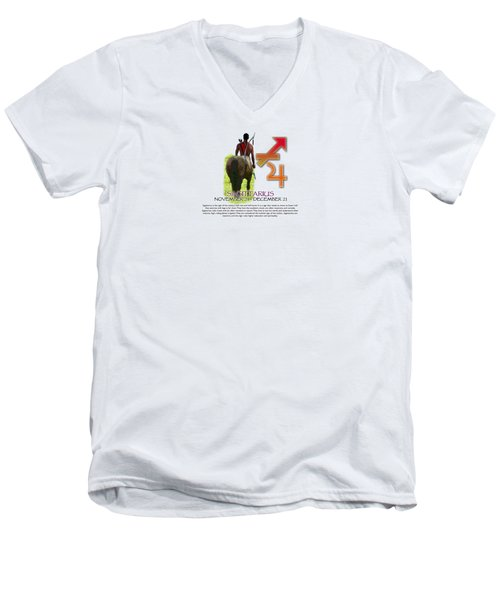 Sagittarius Sun Sign Men's V-Neck T-Shirt by Shelley Overton