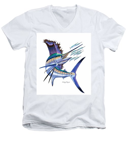 Sailfish Digital Men's V-Neck T-Shirt by Carey Chen