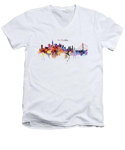San Francisco Watercolor Skyline Men's V-Neck T-Shirt by Marian Voicu