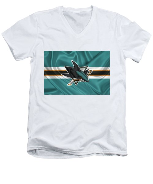 San Jose Sharks - 3 D Badge Over Silk Flagsan Jose Sharks - 3 D Badge Over Silk Flag Men's V-Neck T-Shirt by Serge Averbukh