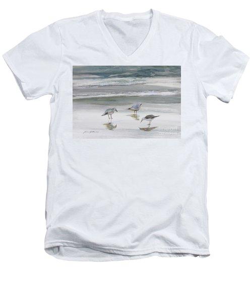 Sandpipers Men's V-Neck T-Shirt by Julianne Felton