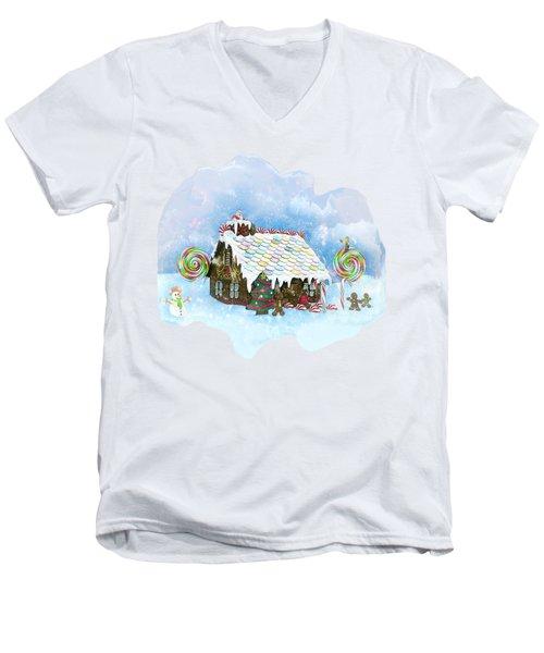 Santa Loves Cookies Men's V-Neck T-Shirt by Methune Hively