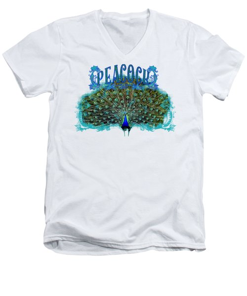 Scroll Swirl Art Deco Nouveau Peacock W Tail Feathers Spread Men's V-Neck T-Shirt by Audrey Jeanne Roberts