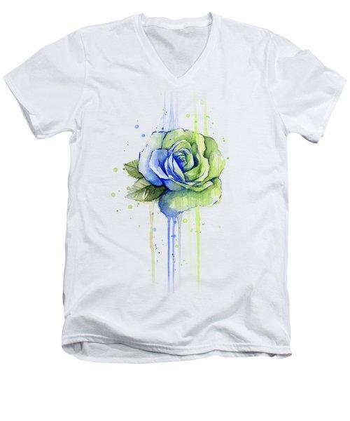 Seattle 12th Man Seahawks Watercolor Rose Men's V-Neck T-Shirt by Olga Shvartsur