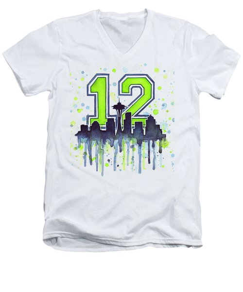 Seattle Seahawks 12th Man Art Men's V-Neck T-Shirt by Olga Shvartsur