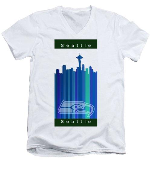 Seattle Sehawks Skyline Men's V-Neck T-Shirt by Alberto RuiZ