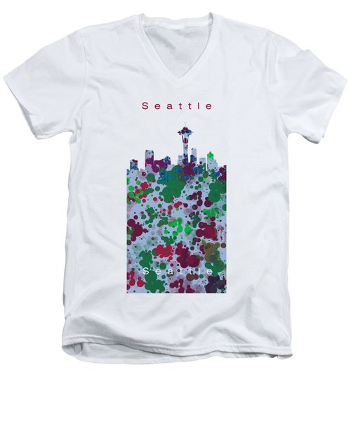 Seattle Skyline .3 Men's V-Neck T-Shirt by Alberto RuiZ