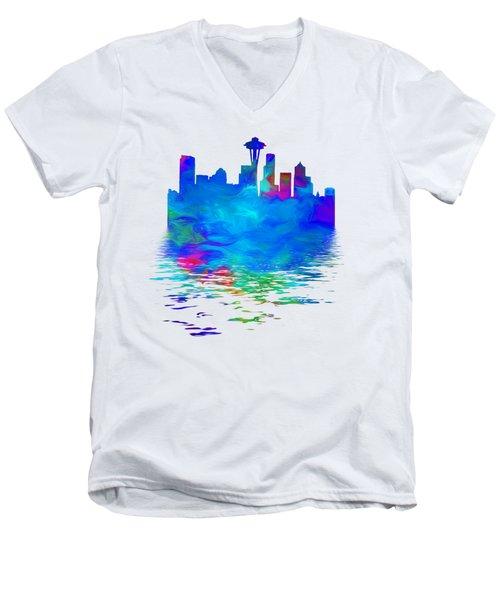 Seattle Skyline, Blue Tones On White Men's V-Neck T-Shirt by Pamela Saville