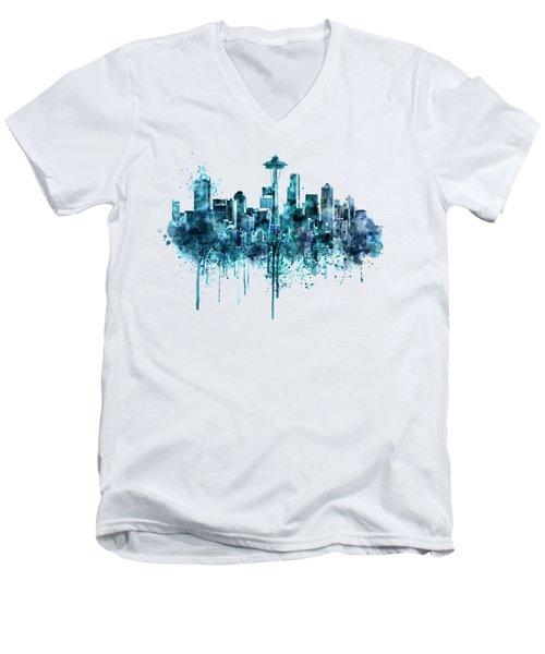 Seattle Skyline Monochrome Watercolor Men's V-Neck T-Shirt by Marian Voicu