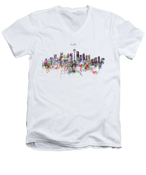 Seattle Skyline Silhouette Men's V-Neck T-Shirt by Marian Voicu