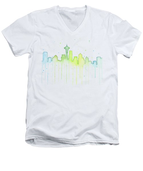 Seattle Skyline Watercolor  Men's V-Neck T-Shirt by Olga Shvartsur