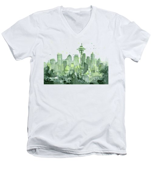 Seattle Watercolor Men's V-Neck T-Shirt by Olga Shvartsur