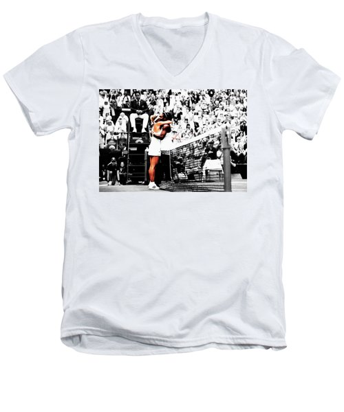 Serena Williams And Angelique Kerber 1a Men's V-Neck T-Shirt by Brian Reaves