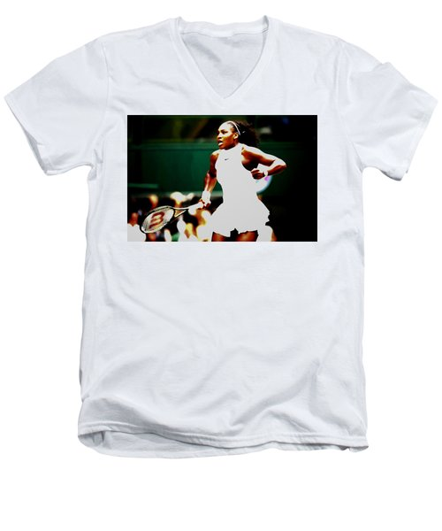 Serena Williams Making History Men's V-Neck T-Shirt by Brian Reaves