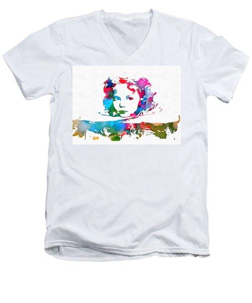Shirley Temple Watercolor Paint Splatter Men's V-Neck T-Shirt by Dan Sproul