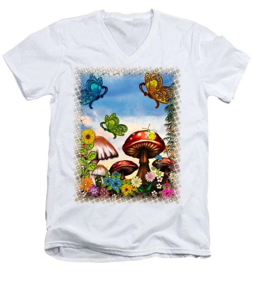 Shroomvilla Summer Fantasy Folk Art Men's V-Neck T-Shirt by Sharon and Renee Lozen