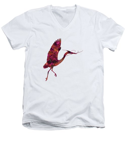 Colorful Great Blue Heron Silhouette Men's V-Neck T-Shirt by Shara Lee