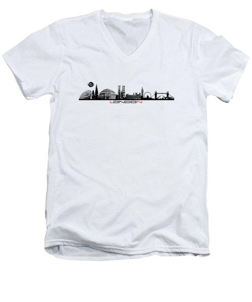 skyline city London black Men's V-Neck T-Shirt by Justyna JBJart