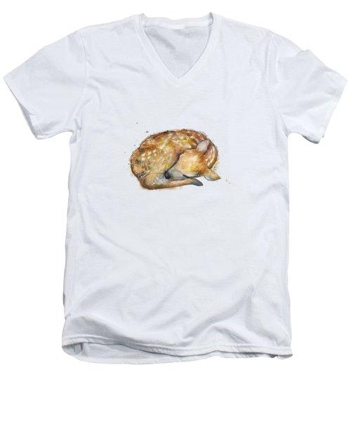 Sleeping Fawn Men's V-Neck T-Shirt by Amy Hamilton