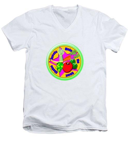 Smart Snacks Men's V-Neck T-Shirt by Linda Lindall