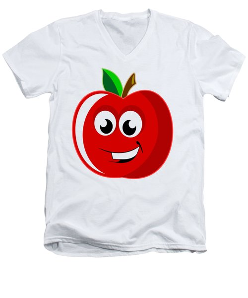 Smiley Tomato With Changeable Background  Men's V-Neck T-Shirt by Sebastien Coell