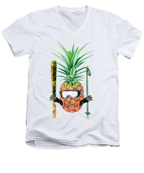 Smiling Pineapple-downhill Skier Men's V-Neck T-Shirt by Elena Nikolaeva