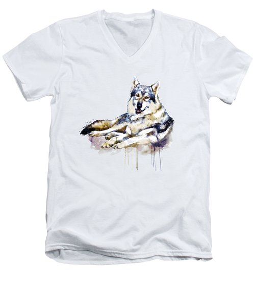 Smiling Wolf Men's V-Neck T-Shirt by Marian Voicu