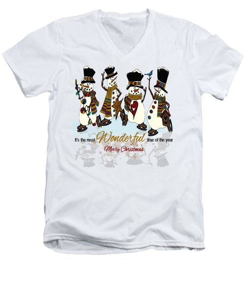 Snow Play Men's V-Neck T-Shirt by Tami Dalton