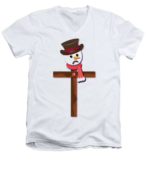 Snowman Christian Cross Men's V-Neck T-Shirt by Reggie Hart