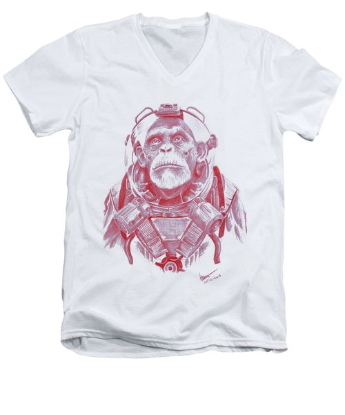 Space Chimp Men's V-Neck T-Shirt by Kenny Noorlander