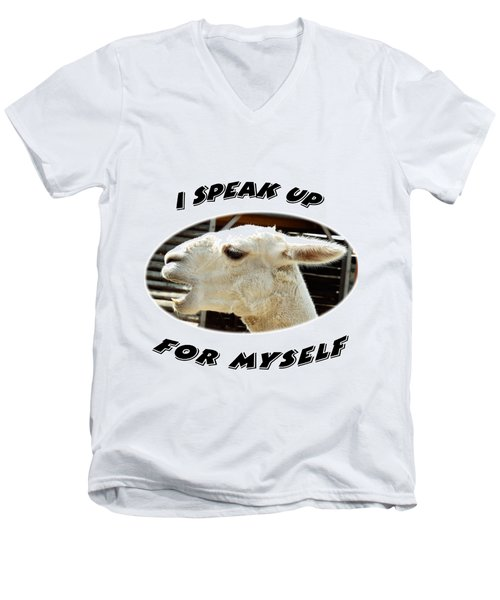 Speak Up Men's V-Neck T-Shirt by Judi Saunders