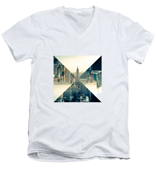 Split Skyline Ny Men's V-Neck T-Shirt by Jamie Kingswood
