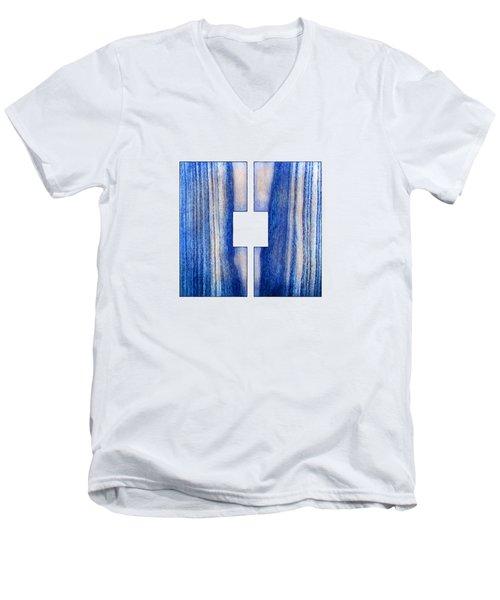 Split Square Blue Men's V-Neck T-Shirt by YoPedro