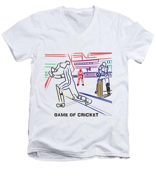 Sports Fan Cricket Played India England Pakistan Srilanka Southafrica Men's V-Neck T-Shirt by Navin Joshi