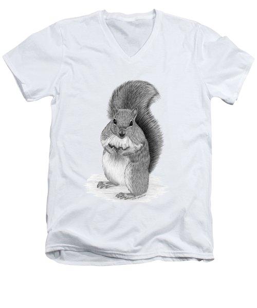Squirrel Men's V-Neck T-Shirt by Rita Palmer