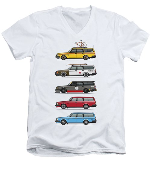 Stack Of Volvo 200 Series 245 Wagons Men's V-Neck T-Shirt by Monkey Crisis On Mars