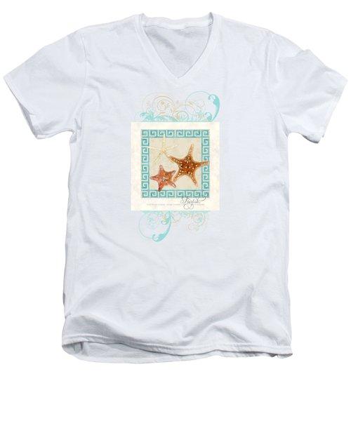 Starfish Greek Key Pattern W Swirls Men's V-Neck T-Shirt by Audrey Jeanne Roberts