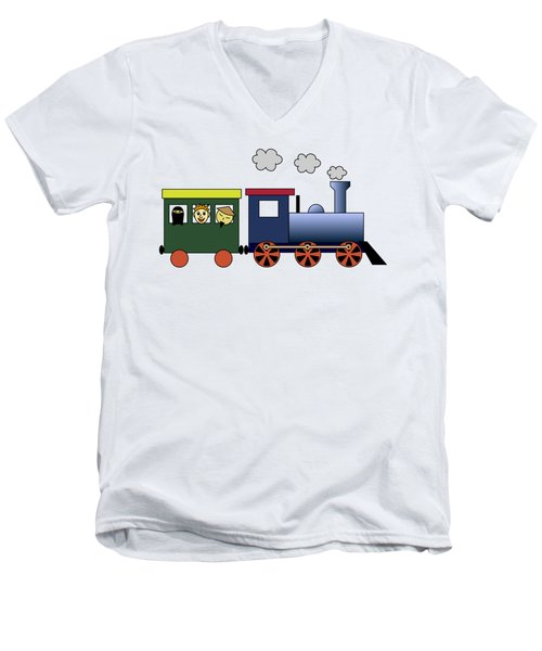Steam Train Men's V-Neck T-Shirt by Miroslav Nemecek