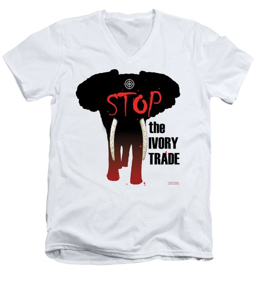 Stop The Ivory Trade Men's V-Neck T-Shirt by Galen Hazelhofer