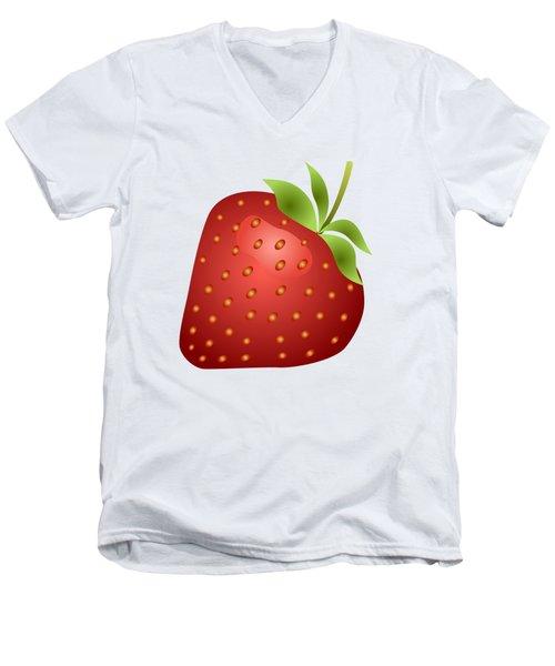 Strawberry Fruit Men's V-Neck T-Shirt by Miroslav Nemecek