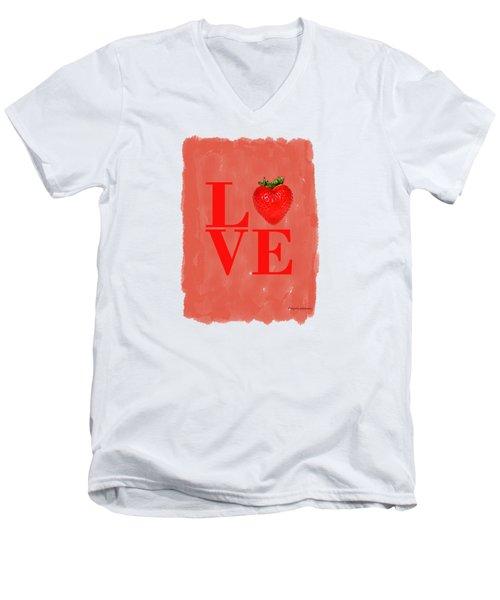Strawberry Men's V-Neck T-Shirt by Mark Rogan