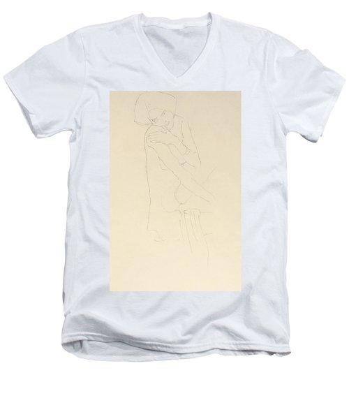 Study For Adele Bloch Bauer II Men's V-Neck T-Shirt by Gustav Klimt
