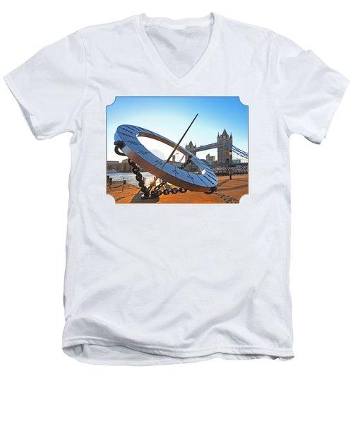 Sun Dial And Tower Bridge London Men's V-Neck T-Shirt by Gill Billington